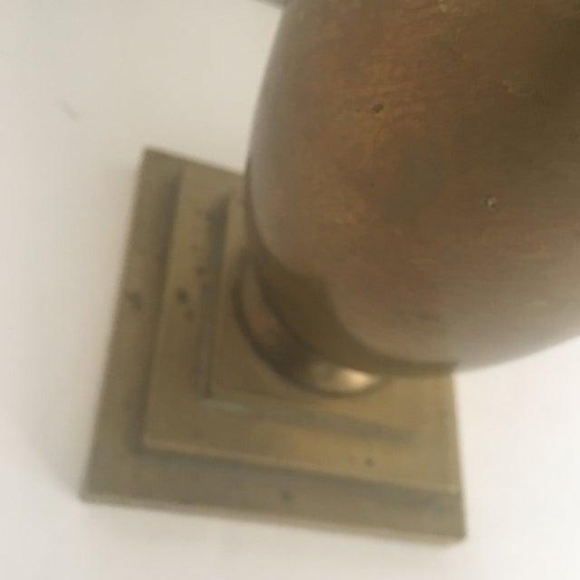 Metal Vintage Art Deco Style Fluted Brass Vase For Sale - Image 7 of 9