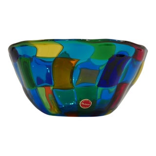 "Italian Vibrant Blue Ballarin Murano Glass ""Pezzatto"" Bowl Signed W Label For Sale"