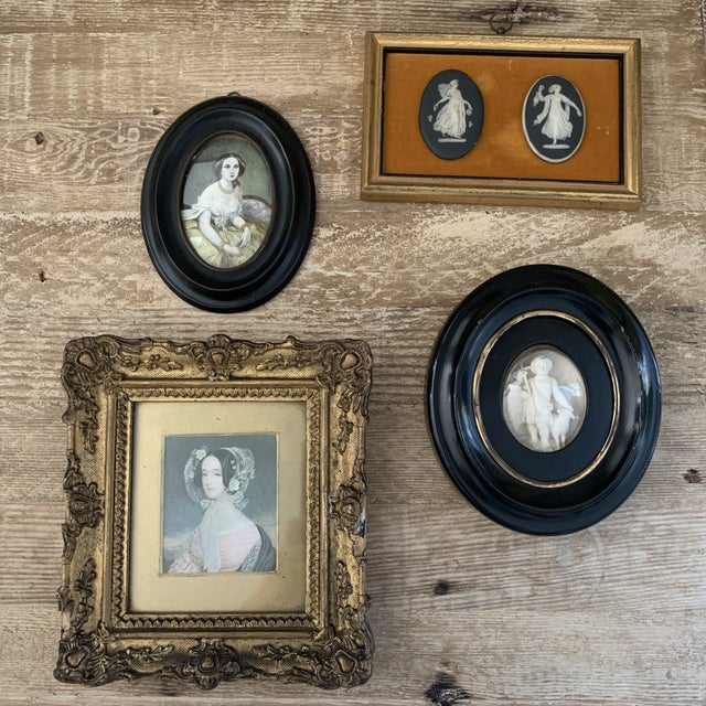 Stone Antique Framed Black Basalt Cameos on Velvet For Sale - Image 7 of 8