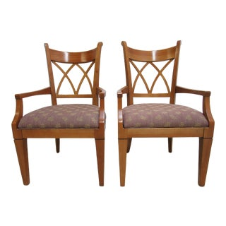 1990s Vintage Harden Furniture Solid Cherry Italy Regency Dining Room Arm Chairs- A Pair For Sale