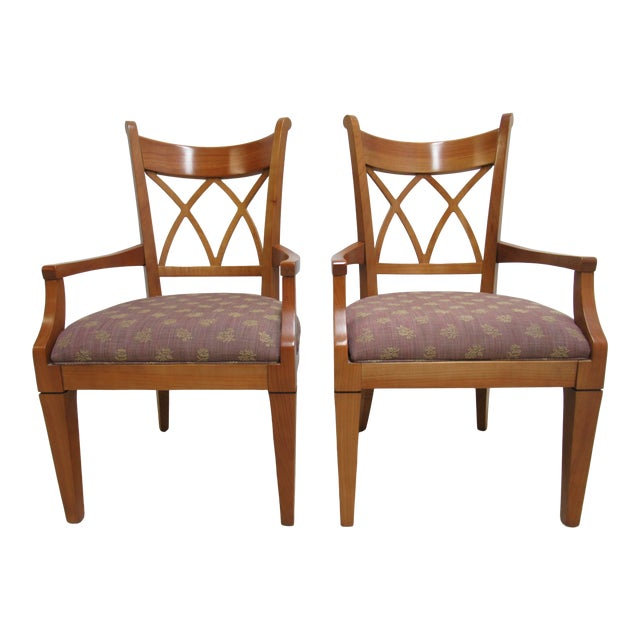 Dining Room Chairs With Arms For Sale: 1990s Vintage Harden Furniture Solid Cherry Italy Regency