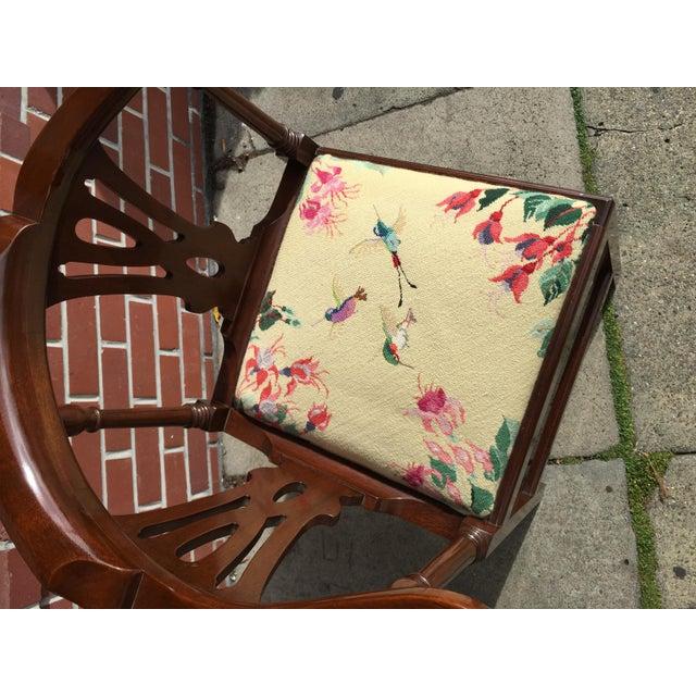 Georgian Style Needlepoint Upholstery Mahogany Corner Chair - Image 9 of 9