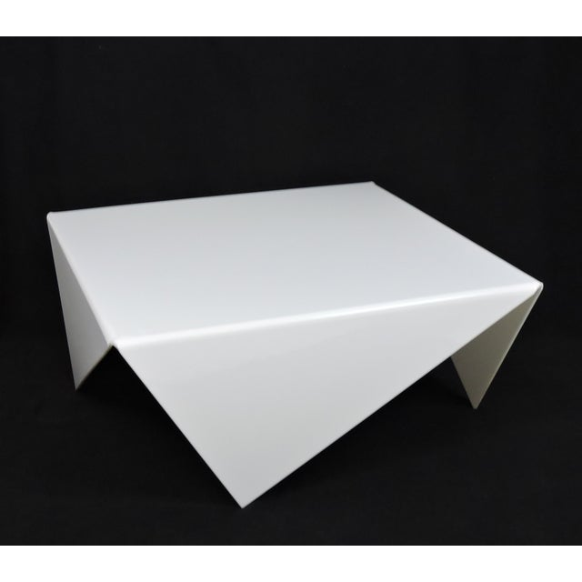Mid-Century Modern Bertin France Mouchoir Style White Acrylic Coffee Table For Sale In Philadelphia - Image 6 of 10