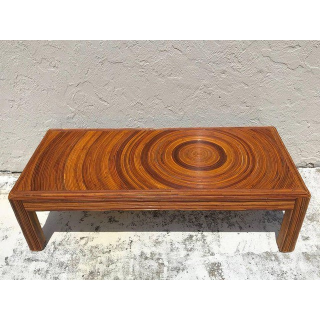 Mid-Century Modern Crespi Style Split Bamboo Long Coffee Table For Sale - Image 3 of 11