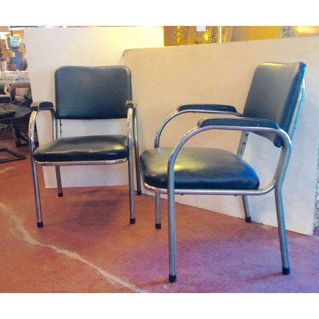 Mid-Century Deco-Style Tubular Chrome Armchairs - a Pair For Sale - Image 9 of 9
