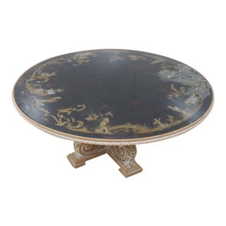 Chinoiserie Eglomise Glass Top Coffee Table For Sale