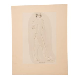 1950s Vintage Konrad Cramer Female Nude Study Drawing For Sale