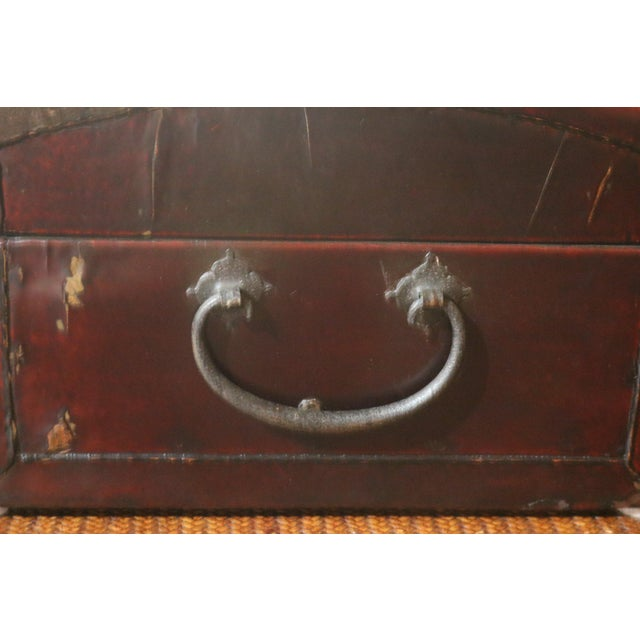 Late 19th Century Chinese Black Lacquer Leather Table Chest For Sale - Image 5 of 7