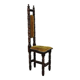 Vintage Spanish Jacobean Renaissance Revival Gothic Green Hall Prayer Chair For Sale