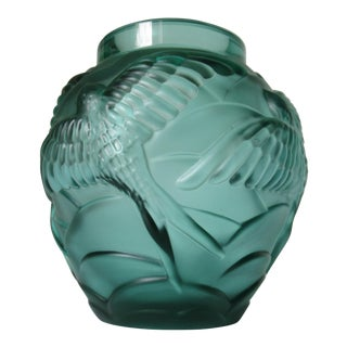 C.1930-40s: Vintage Joseph Inwald Barolac Bird Swallow Crystal Glass Relief Vase, Manner of Lalique For Sale