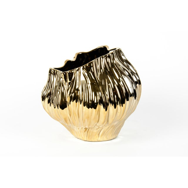 Gold Mid-Century Gold Plated Ceramic Vase For Sale - Image 8 of 8