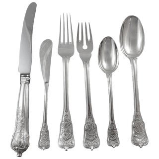 Rosenborg by A. Michelsen Sterling Silver Flatware Set Service Dinner Size 77 Piece For Sale