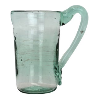 Mint Teal Hue Blown Glass Mug For Sale