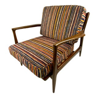 Mid-Century Ib Kofod-Larsen for Selig Walnut Lounge Chair For Sale