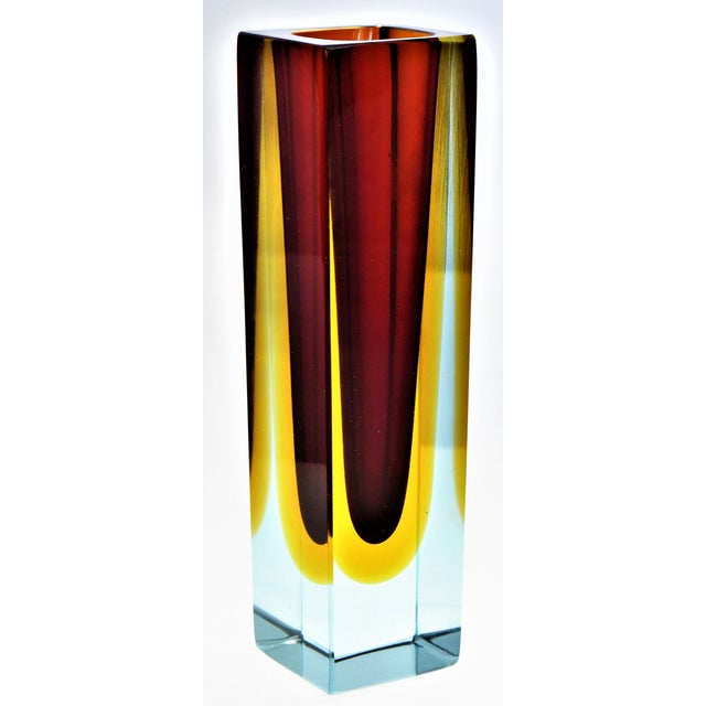 1970s Murano Blue Red and Yellow Glass Vase by Mandruzzato For Sale - Image 12 of 12