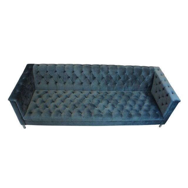 Modern Vintage Blue Tufted Modern Velvet Upholstered Sofa For Sale - Image 3 of 13
