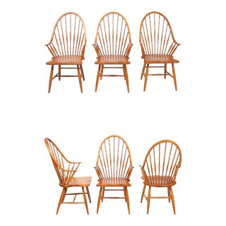 Mid Century Solid Maple Windsor-Style Peacock Dining Chairs- Set of 6 For Sale