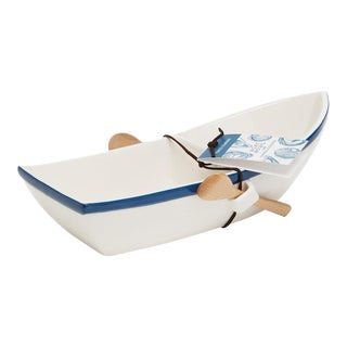 Ceramic Boat Chip & Dip Server For Sale
