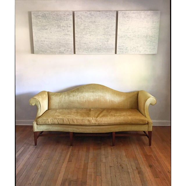 One-of-a-kind monumental custom-made camelback sofa, by Heritage Furniture. Buttery-soft crushed velvet, original to...