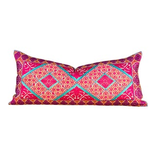 Ella Swati Embroidered Phulkari Pillow For Sale