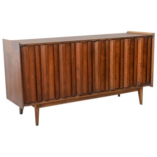 Italian Modern Walnut Four-Door Credenza/Buffet, Style of Ico Parisi For Sale