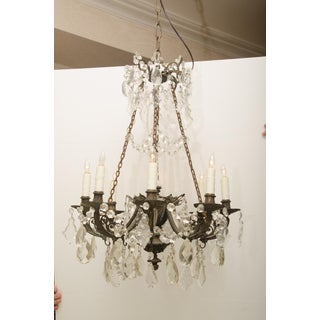 Iron and Crystal Converted Gas Light Chandelier Preview