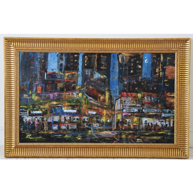 """Vibrant Los Angeles cityscape abstract oil painting on linen affixed to Masonite by California artist Juan """"Pepe"""" Guzman-..."""