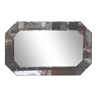 Large Italian Fontana Arte Style Horizontal Beveled Mirror For Sale