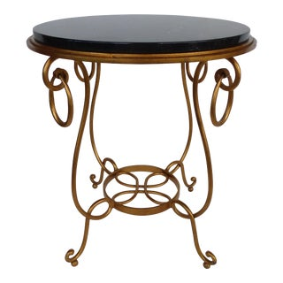 Gilt Wrought Iron & Marble Occasional Table For Sale