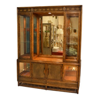1980s Woven Rattan China Cabinet For Sale