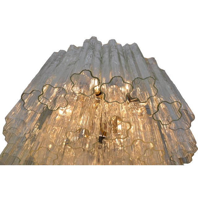 1960s Italian Round Three-Tier Tronchi Glass Chandelier For Sale - Image 5 of 8
