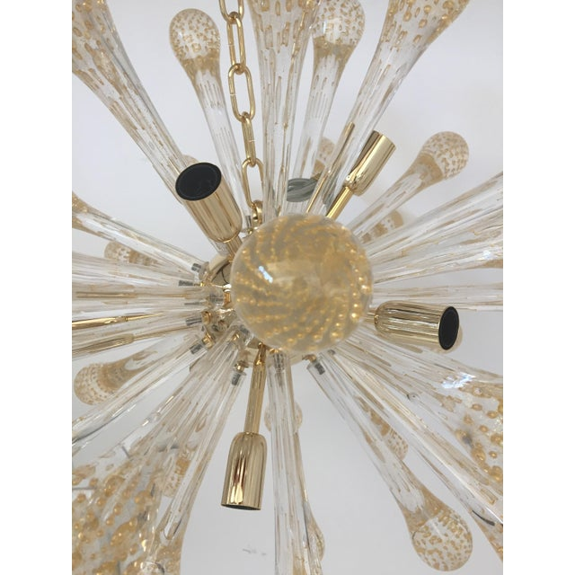 Contemporary Murano Glass Gold and Transparent Sputnik Chandelier For Sale - Image 3 of 7