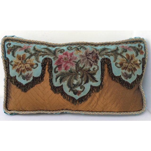 Beautiful antique blue and copper colored pillow composed with antique Beadwork and needlework panel, vintage silk velvet,...