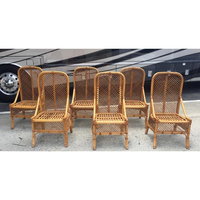 1970s Vintage Chippendale Style Rattan Bamboo Dining Chairs- Set of 6 For Sale - Image 11 of 11