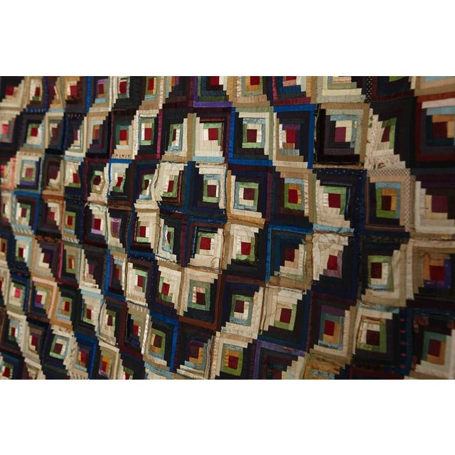 Traditional Antique Log Cabin Barn Raising Pieced Silk Quilt For Sale - Image 3 of 8