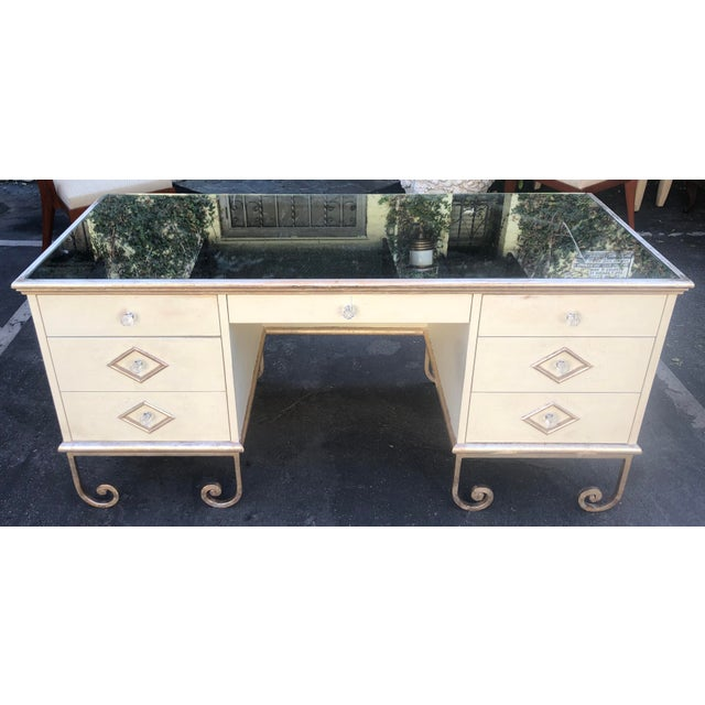 Vintage Art Deco Mirror Top Vanity Desk For Sale In Los Angeles - Image 6 of 6