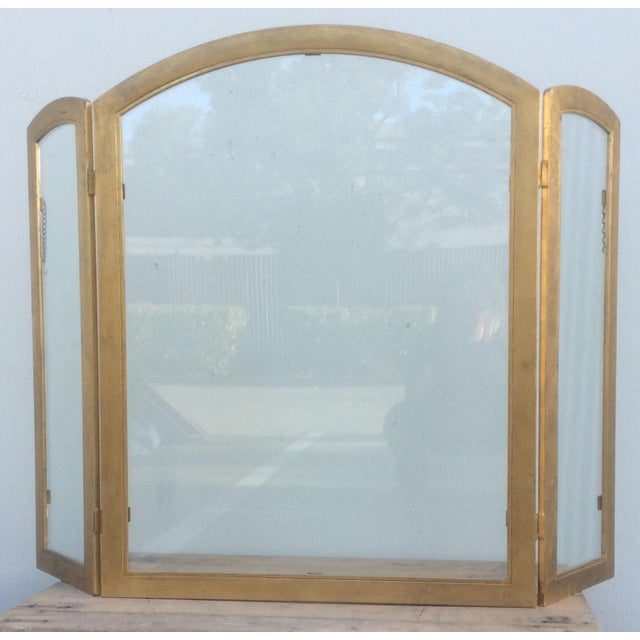 Glass Beautiful Gilt Metal and Glass Fire Screen For Sale - Image 7 of 9