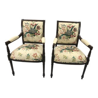 Traditional Floral Upholstered Fruitwood Armchairs - a Pair For Sale
