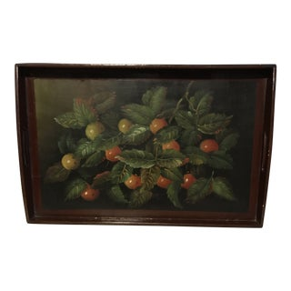 Vintage Hand Painted Lacquered Wood Tray For Sale