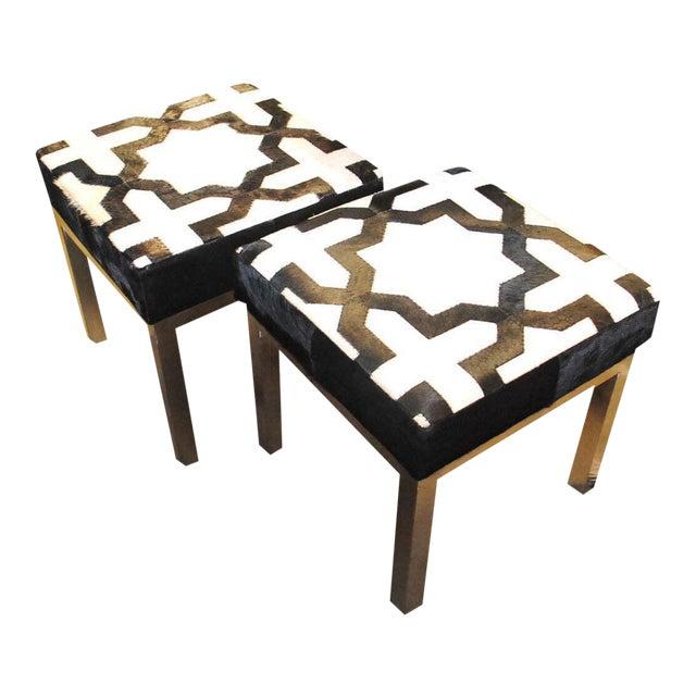 Modern Geometric Print Cowhide Ottomans- a Pair For Sale