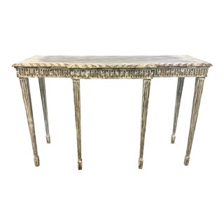 Maitland-Smith Gustavian Style Taupe and Ivory Aged Carved Wood Console Table For Sale
