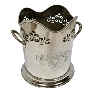 Vintage French Reticulated Silver Wine Cooler For Sale