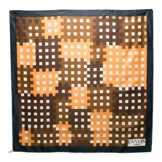 Lanvin Silk Scarf Camel Cider and Spice Geometric Print For Sale