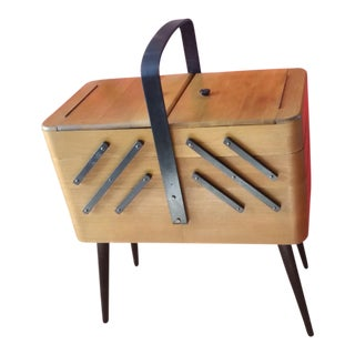 1960s Danish Modern Acordion Sewing Kit For Sale