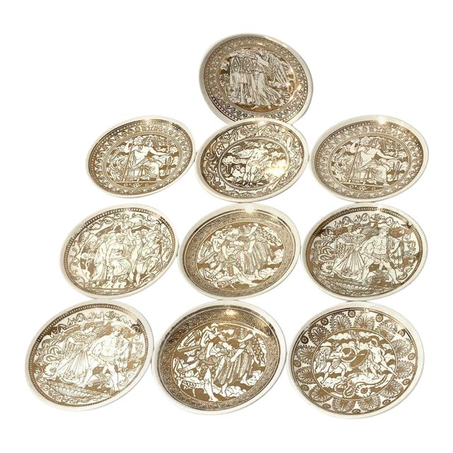 """Mid-Century Modern Fornasetti """"Mitologia"""" Coasters - Set of 10 (8 Designs) For Sale"""
