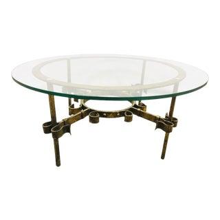 Vintage Boho Glass Coffee Table Gilt For Sale