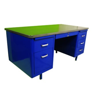 Vintage Mid-Century Modern Blue Steel Tanker Desk Preview