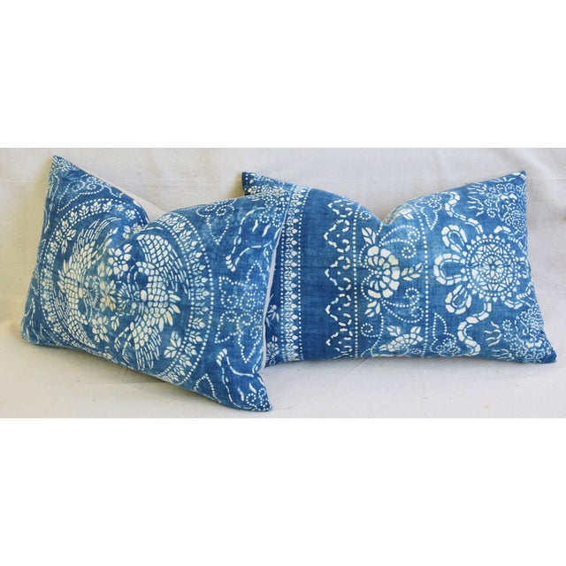 "White Blue & White Shanghai Batik Chinoiserie Feather/Down Pillows 23"" X 16"" - Pair For Sale - Image 8 of 11"