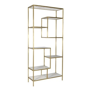 Modern White Marble & Brass Finished Iron Shelf For Sale