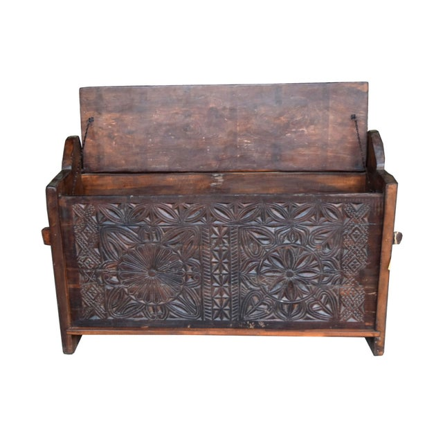 Tribal Wooden Carved Trunk - Image 4 of 7